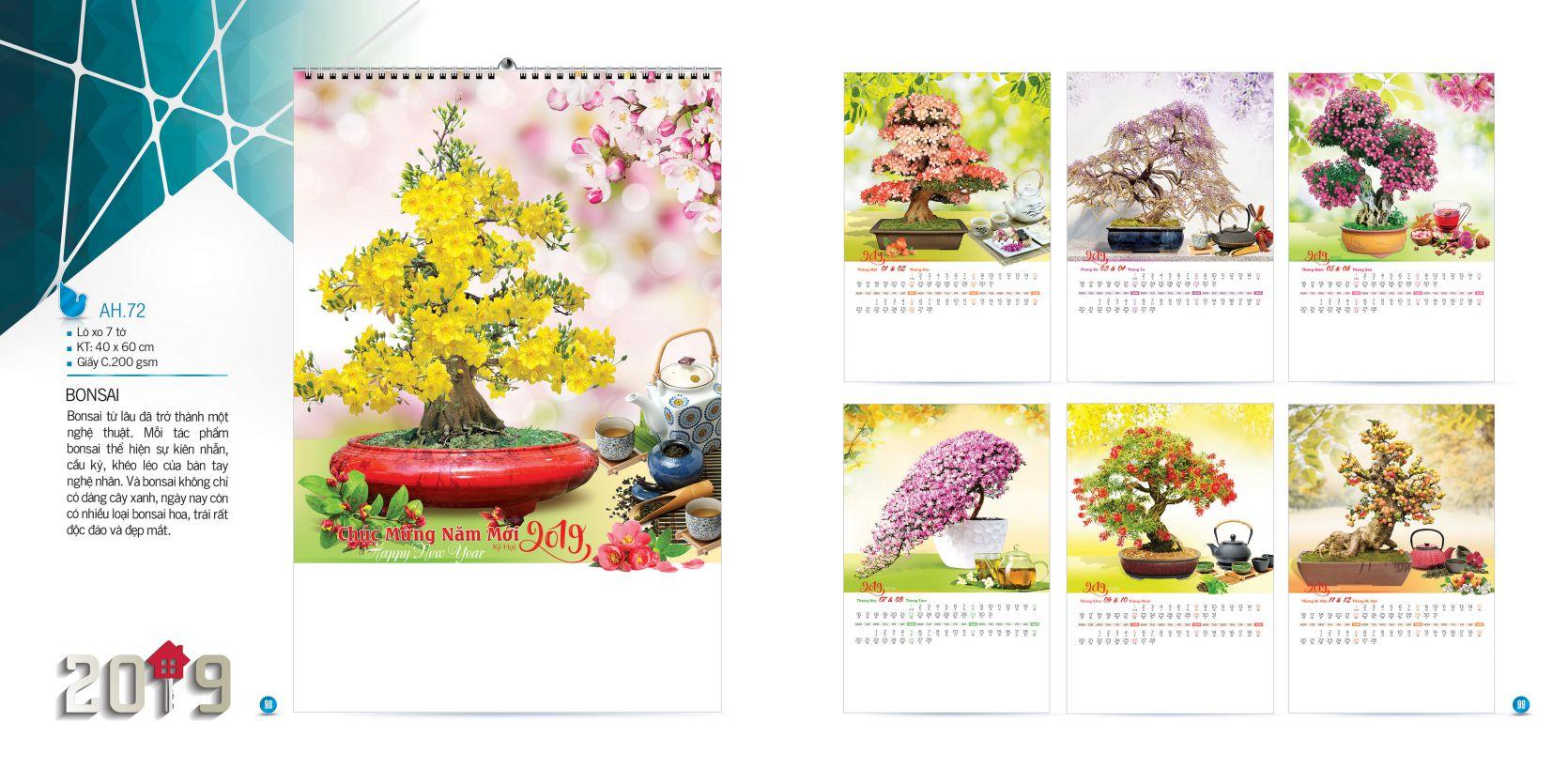 Đặt in lịch lò xo 7 tờ giá rẻ tại Hà Nội